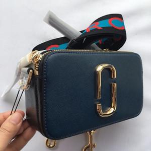 Дизайнер Женщины площадь камеры сумки на ремне сумки Малый ремешок Письмо кожа Mini Марк Дамы сумки Double Zipper Косметические сумки Jacobs