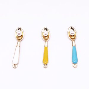 Hot 20pcs High Quality Fashion Enamels Charms Gift Color Spoon Alloy Pendant Bracelet Necklace Jewelry Accessories DIY Crafts