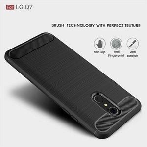 Capa de silicone para LG Q6 Além disso Q60 LG Q7 Além disso Q8 à prova de choque de fibra de carbono embutida TPU tampa do telefone capa para LG Q8 2020 Q6 Q7 Alpha