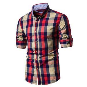 Nova Primavera Moda 100% algodão xadrez camisa dos homens Casual Business Social Masculino shirt Top Quality Long Sleeve Mens Camisas de vestido