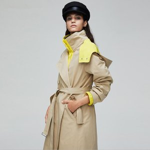Women classic England Long sleeve Long Trench coat 2020 high quality Hooded Stitching color Windbreaker Lace up Outerwear w815