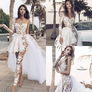 2020 Western Country Wedding Jumpsuits com Renda Destacável Lace Appliqued Sweetheart Manga Longa Boho Vestido de Noiva Vestidos de Novia