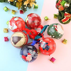 Christmas Ball Candy Box Tinplate круглый шар Xmas висячие украшения конфеты небольшой подарок шарик ящик для хранения