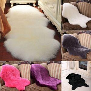5 Farben Wolle Schaffell-Stuhl-Abdeckung Warm Hairy Teppich Sitzkissen Plain Teppiche