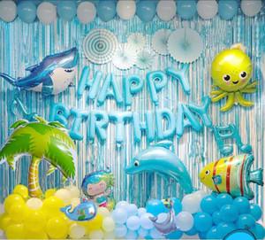Anniversaire créatif ballon en aluminium joyeux anniversaire alphabet dauphin bleu mis à célébrer la scène fête
