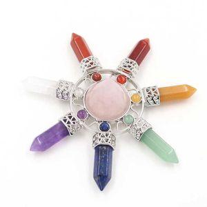 5 Pcs Energy Transmitter Pyramid Rose Quartz Pendant Lapis Lazuli Silver Plated Healing Chakra for Gift Jewelr