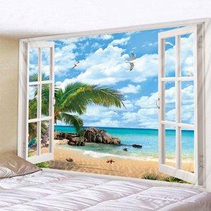 해변은 윈도우 인쇄 태피스트리 저렴한 히피 벽 외부 보헤미안 벽 태피스트리 만다라 벽 아트 데코 T200628 매달려