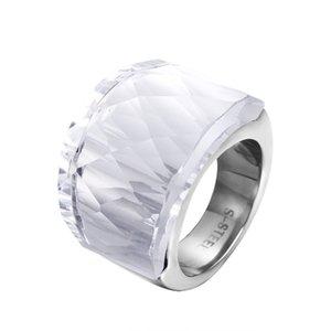 ZMZY Fashion Luxury Big anelli in acciaio inossidabile per le donne gioielli anello sfaccettato vetro pulito