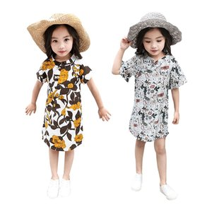 Yaz Yeni Moda Bebek Kız Ulusal Rüzgar Çiçek Baskı Cheongsam Stil Elbise Casual Elbise 3-8 yaşında Kızlar için