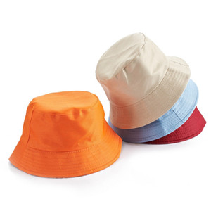 Fashion Pescatore Bucket Cap Tempo libero Solido Colore Uomini Sport Piatto Top Cappello Estate Donna Outdoor Travel Sun Hat 100pcs TTA1000