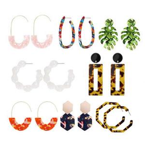 8Pairs / Set Asetik Asit Leopard Baskı Kadınlar İçin Geometrik Poligon C-Şekli kolye Küpe Dangle Akrilik Multistyle Kulak Studs Earring'i Yapraklar