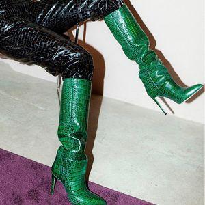 Kardashian Berühmtenart Python geprägtes Leder kniehohe Stiefel Damen High-Heels Spitz Frauen Stiefel Schuhe de Mujer Botas Größe 35-43
