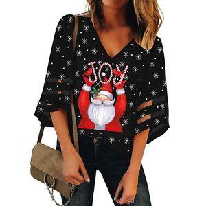 Vintage Christmas Blouse Shirts Women's V-Neck Mesh Top Trumpet Sleeves Loose Christmas Santa Claus Print Top blusa feminina @45