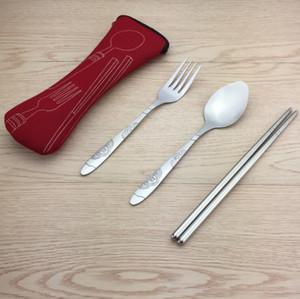 Из нержавеющей стали Посуда Набор портативный набор столовых приборов Кемпинг вилка ложка нож с мешком посуда набор 3шт / набор кухонных принадлежностей LXL595-1