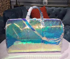 50cm moda seyahat çantası, göz kamaştırıcı renk, mavi, kırmızı, büyük beden tasarım, gökkuşağı tonlu, çok parlak.