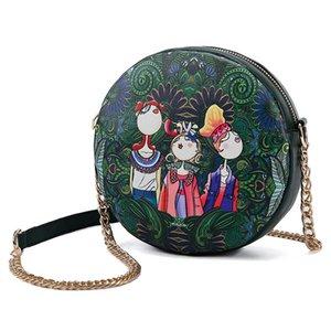 Diseñador-CESHA Moda Chicas de dibujos animados de impresión bolso circular de alta calidad de cuero de la PU pequeño bolso de hombro Girs encantadora bolsa de mensajero redondo