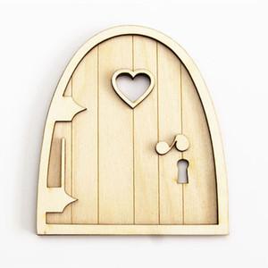 Umweltfreundlich 6pcs 3d Holz Feegarten Herz-Tür-Craft Schmuck Dekoration Diy Malerei Dekoration Kindergeburtstag Hobby-Geschenk