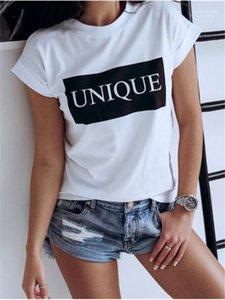 T-shirts Summer manga curta O Neck Ladies Tops Designer Female Tees único impresso Womens