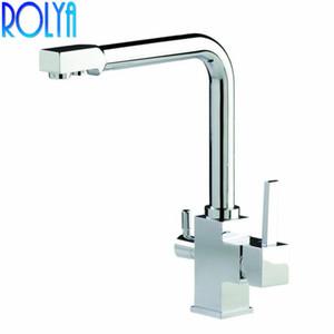 ROLYA 3 Vías Agua Limpia Grifo de la Cocina Ósmosis Giratoria Inverso Tri-flujo Fregadero de la Cocina Grifo Mezclador