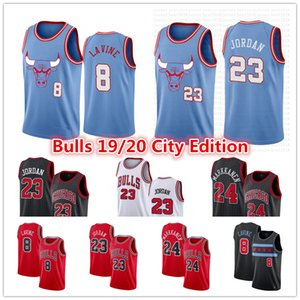 2020 Дешево 8 Зак Лавин #23 Майкл Коби 0 Белый Джерси Чикаго Буллз Лаури 24 Маркканена Город Синий Издание Баскетбол Кофта