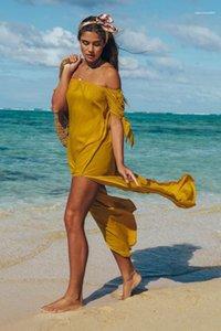 Suelta la playa vestidos largos de las mujeres de la raya vertical del cuello sólido vestido de verano Vestidoes ropa casual diseñador