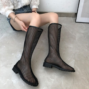34-43 large size women's shoes were thin and hollow mesh yarn sandals high tube thick heel Roman sandals women summer