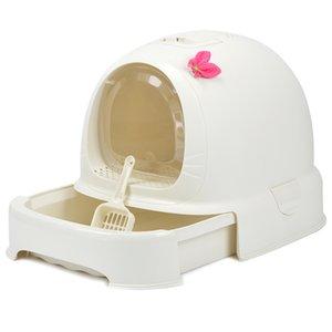 Cerrado de gato WC s caja de arena del lecho de Formación Bedpan mascotas gatito camada suministros Box