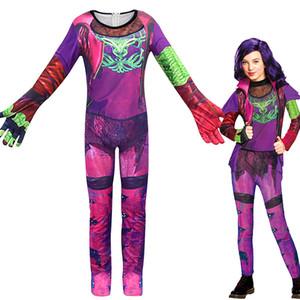 Ücretsiz Kargo Film soyundan 3 Kadın sahibi Mal mor Onesies déguisement enfant fille Cosplay Halloween makyaj parti giyim