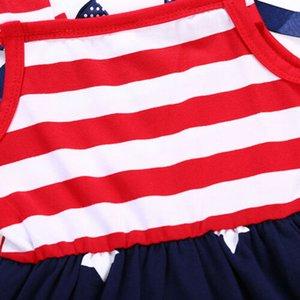 Дети Baby Girl Dress Flag Stars Полосатые Лоскутные Качели сарафан 4 июля Одежда рукава Sling Bow Девушка платье 18M-6Y