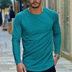 Mens Polka Dot Baskılı Tişörtleri Casual Ekip Boyun Uzun Kollu Tees Mens Sıcak Satış Temel Tops