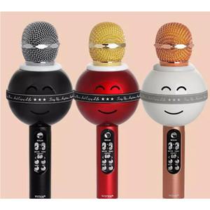 Toptan WS878 mikrofon cep telefonu el KTV kablosuz Bluetooth K şarkı hazine için parti / Konferans için LED ışık ile