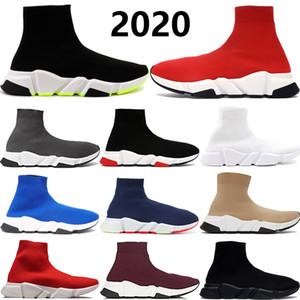 2020 de lujo Speed Trainer hombres mujeres calcetín zapatos casuales de triple Negro Blanco Neon gris real de la pasa para hombre zapatillas de deporte de diseño de EE.UU. 5,5-11