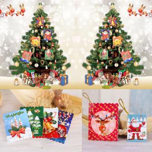 10pcs / cumprimento conjunto aleatório Hang On Christmas Tree Melhor desejo do feriado Cartão pequeno