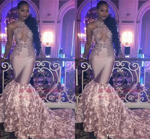 Fantástico Major Beading Prom Vestidos Flores Apliques de Sereia Longo Sem Mangas Keyhole Vestidos de Noite 2019 Africano Keyhole Pescoço Vestidos Formais