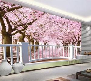 3D Wallpaper Wallpaper Super Clear Balcone Cherry Tree Cherry Blossoms Soggiorno Camera da letto Background decorazione della parete