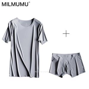 Freies Verschiffen Heißer 2019 Ziegenmilch Ice Silk Nahtlose Boxer Kurzarm T-Shirt Unterwäsche Set Set Sommer T-Shirt