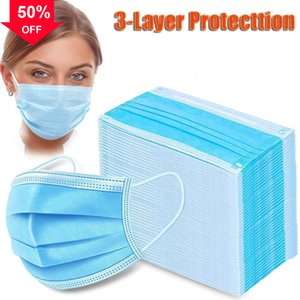 CqFrE Certificate DHL Free in stock protective mask Disposable face Thick 3-Layer Masks with Earloops Salon Home Use Com