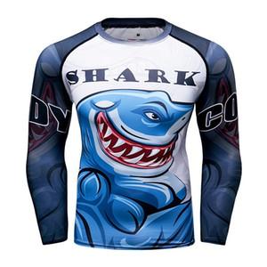 La compresión de la piel de tiburón apretado nuevos hombres UFC camiseta de manga larga de BJJ MMA 3D imprime Rash Guard Base de fitness Capa Superior Masculina desgaste MX200509