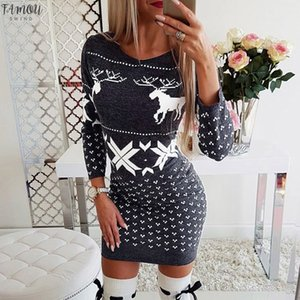 Plus Size Women Dress Xmas Cap Sleeve Womens Long Sleeve Pullover Christmas Knit Ladies Jumper Dress Dress Party