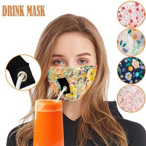 Parti İçecek Maskeler Yetişkin çocuklar Anti PM2.5 Kirliliği Sis Pamuk Ağız Straw Yeniden Yıkanabilir toz geçirmez Koruyucu Yüz Kapağı Maske w-00101