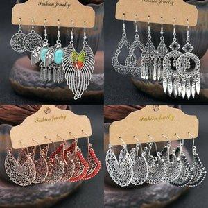 3 Pairs Ethnic Boho Womens Earrings Set Antique Ear Stud Drop Dangle Jewelry