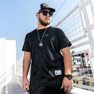 Verano 2019 nuevo código de tamaño gordo caliente moda simple manga corta negro impresión delgado hombres camiseta high street hip-hop marea hombres Camisetas