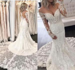 2020 robes de mariée en dentelle pleine dentelle élégante sirène manches longues jardin meublée robes de mariée de mariée sur mesure