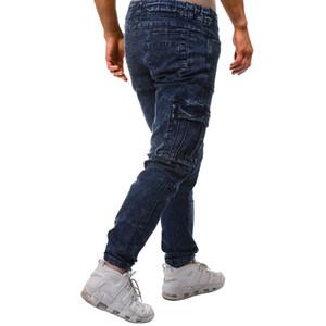 Uomini Blu drappeggiato Jeans Primavera Estate Tasche Casual Denim Blue matita dei pantaloni