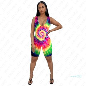 Mujeres Skinny Jumpsuits Fashion Tie-dyed Ladies Summer One-pieces Shorts Sexy Rompers Chaleco femenino Trajes Imprimir Ropa sin mangas D42205