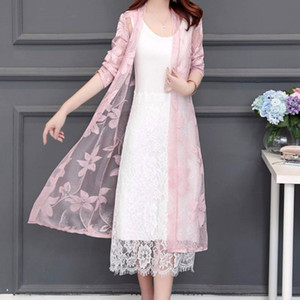 Été Femmes Floral LACE UP Kimono Cardigan Protection solaire Vêtements Long Beach Blouses Casual Ladies Beach Cover Up couches minces