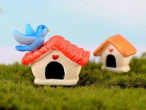 Moss mikro peyzaj yaratıcı karikatür DIY reçine el sanatları küçük süsler kuş evi küçük villa