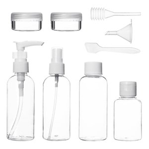 9 pcs Refillable Bottles Portable Transparent Make Up Empty Travel Cosmetic Plastic Shampoo Facial Cleanser Container Cream Box