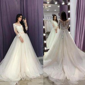 2020 웨딩 드레스 맞춤형 3/4 긴 소매 레이스 아첨하는 신부 가운 라인 얇은 명주 그물 솔리드 기차 웨딩 드레스