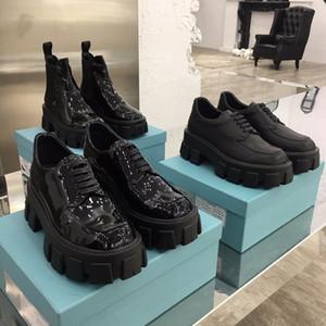 Мода Роскошь Женской обувь Мартин сапоги женщины лакированная кожа Ботильоны High Top Slip-On Cloudbust платье загрузка в черном Rubber Sole